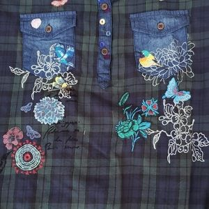 Desigual Plaid shirt Embroidered front Large